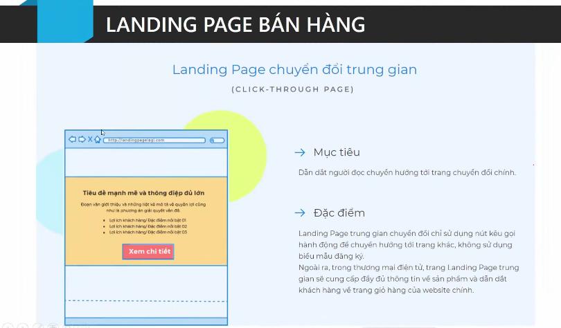 Landing Page chuyển đổi trung gian