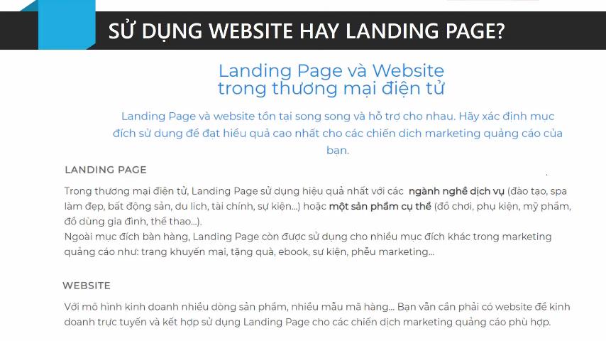Sử dụng Website hay Landing Page