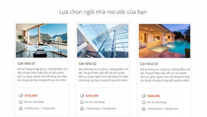 Section Danh sách sản phẩm Landing Page