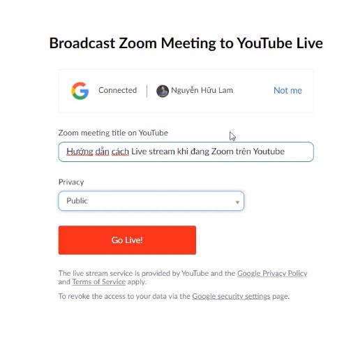 Livestream trên Youtube