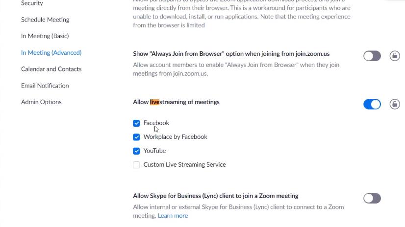 bật tính năng livestream khi đang phát zoom như Facebook, Youtube.